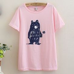 Angel Love - Bear Print Short-Sleeve T-Shirt
