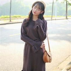 Anlay - Long-Sleeve Frilled-Trim Long Knit Top
