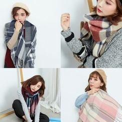 BAIMOMO - 流蘇邊格紋冬季圍巾