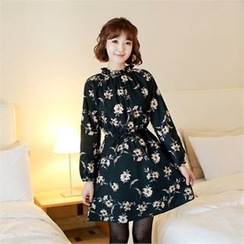 Styleberry - Drawstring-Waist Floral Print A-Line Dress