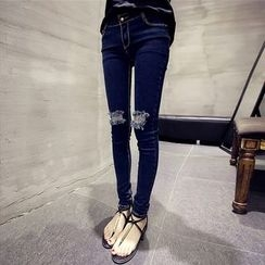 Color7 - Distressed Slim-Fit Jeans