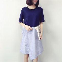 Bloombloom - Panel Short-Sleeve Dress