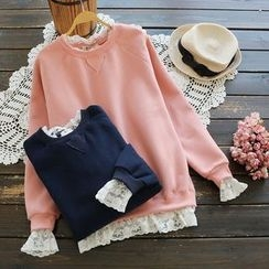 YOYO - Lace-Trim Fleece-Lined Pullover