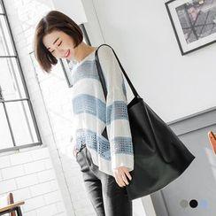 OrangeBear - Striped Eyelet-Knit Loose Sweater