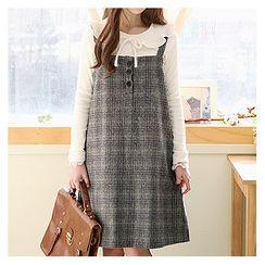 Sechuna - Wool Blend Plaid Suspender Dress