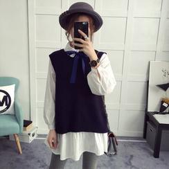 efolin - Set: Bow Accent Shirt + Back Slit Knit Vest