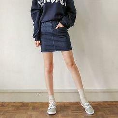 Seoul Fashion - Denim Washed Miniskirt
