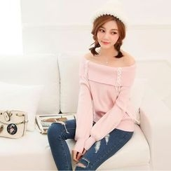 Everies - Lace Up Detailed Off Shoulder Sweater