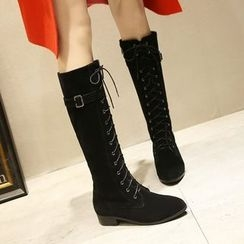 JY Shoes - Low Heel Lace Up Tall Boots