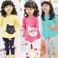 Clara - Kids Set: Long-Sleeve Cat Printed T-Shirt + Leggings