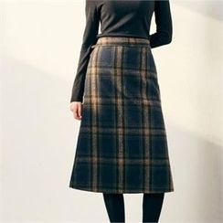 MAGJAY - Banded-Waist Checked Midi Skirt