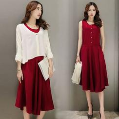 Elinor - 套装: 无袖连衣裙 + 七分袖轻型外套