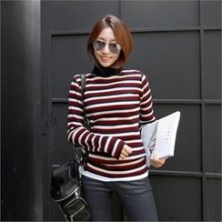 PIPPIN - Turtle-Neck Striped Wool Blend Rib-Knit Top