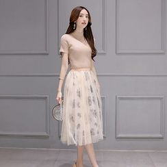 Romantica - Set: Short-Sleeve Top + Printed Mesh Skirt