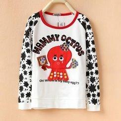 Cute Colors - Long-Sleeve Octopus Appliqué T-Shirt