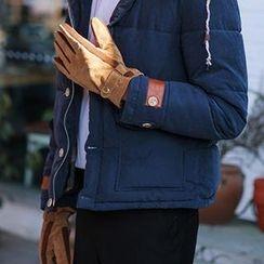 Thantrue - Genuine-Leather Panel Gloves