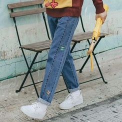 Kojasmine - 刺繡修身牛仔褲