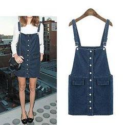 Miss Kissy - Button-Down Denim Jumper Skirt