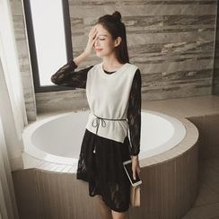 Eva Fashion - Set: Long-Sleeve Lace Dress + Sleeveless Knit Top