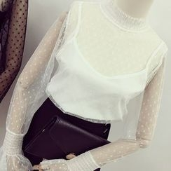 Honeydew - Set: Long Sleeve Lace Top + Camisole