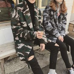 Simpair - Couple Matching Camo Notch Lapel Long Woolen Coat