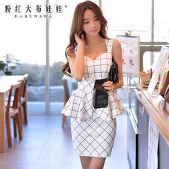 Dabuwawa - Sleeveless Check Peplum Dress