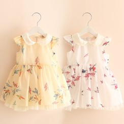 Seashells Kids - Kids Bird Print Collared Sleeveless Chiffon Dress