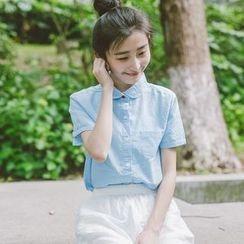 Ranche - Peterpan Collar Short-Sleeve Shirt