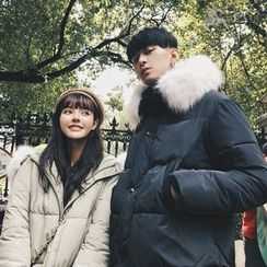 Simpair - Couple Matching Furry Trim Hooded Long Padded Jacket