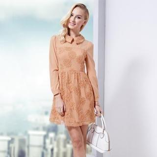 O.SA - Collared Appliqué Mesh-Overlay Chiffon Dress