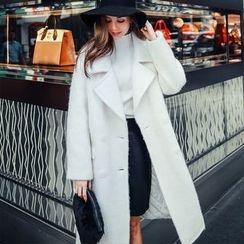 MOFFI - Plain Notch Lapel Double Breasted Woolen Coat