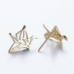 Seirios - Metallic Origami Crane Earrings