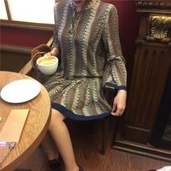 QZ Lady - Long-Sleeve Patterned Chiffon Dress