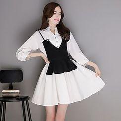 Katie Bloom - 套裝: 純色七分袖襯衫裙 + 吊帶背心