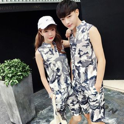 Evolu Fashion - Couple Matching Set: Camouflage Sleeveless T-shirt + Shorts