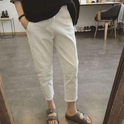 Kojasmine - 純色修身九分牛仔褲