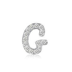 MBLife.com - Left Right Accessory - 9K White Gold Initial 'G' Pave Diamond Single Stud Earring (0.04cttw)