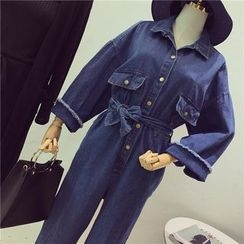 Octavia - Denim Jumpsuit with Sash