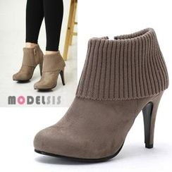 MODELSIS - Knit-Trim Ankle Boots