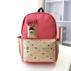 Crystal - Moustache Print Canvas Backpack