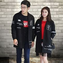 Igsoo - Couple Matching Letter Knit Coat