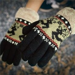 Lose Show - Paneled Patterned Wool Gloves