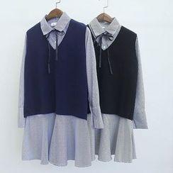 Oh My Love - Set: Knit Vest + Striped Shirtdress