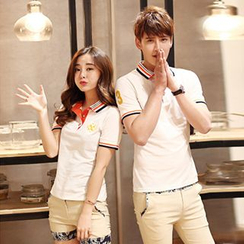 Azure - Couple Matching Stripe Short-Sleeve Polo