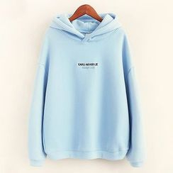 Mocha - Letter Embroidered Hoodie