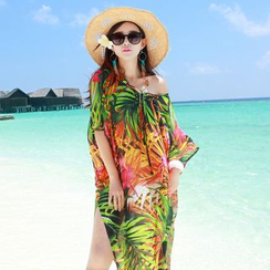 Miss Fox - Print Lace-Up Chiffon Cover-Up Dress