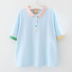 Meimei - Short-Sleeve Color Block Polo Shirt