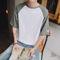 Besto - Short-Sleeve Color Block T-Shirt