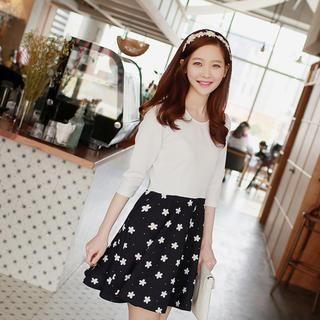 WITH IPUN - Mock Two Piece Flower Print Dress