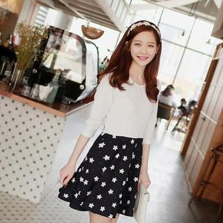 WITH IPUN - Mock Two Piece Flower Print Dress